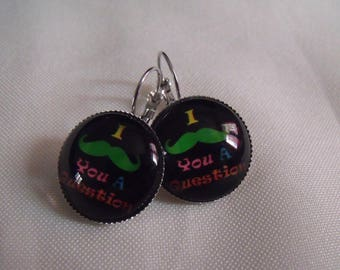 20mm yellow green black mustache glass cabochon earrings