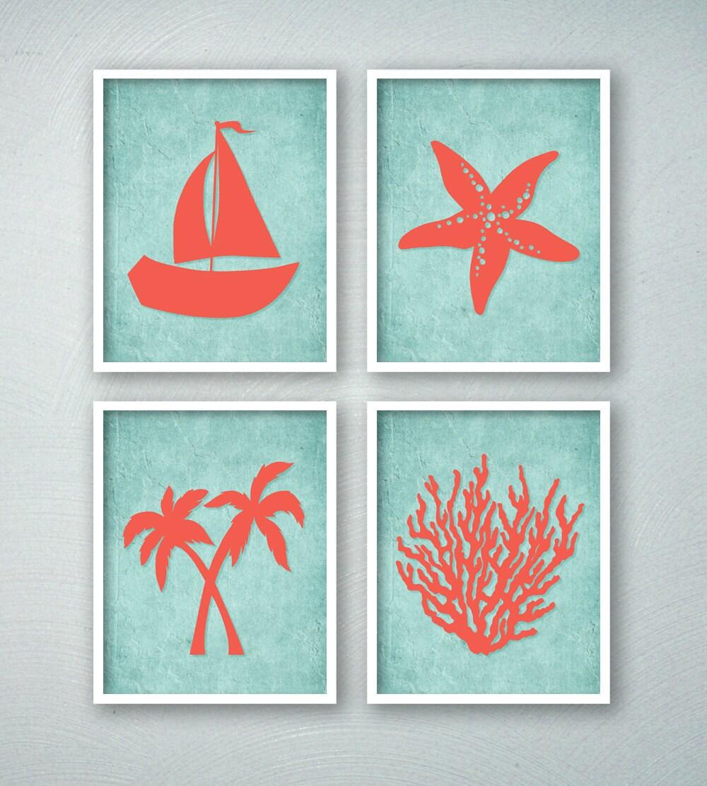 Tropical Bathroom Wall Decor: Tropical Bathroom Decor Tropical Bath Art Prints Beach