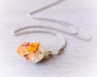 Raw crystal necklace Citrine necklace Raw citrine pendant Crystal point gemstone necklace Mineral necklace November birthstone Non tarnish