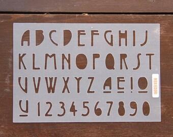"A - Z Mid-Century Modern Font Stencil - Bullet Point Journal Stencil, fits Leuchtturm and Moleskine 5"" by 7"""