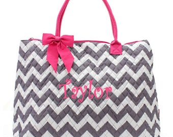 Personalized Chevron Large Tote Bag Gray & White with Hot Pink Trim Quilted Overnight Bag Monogrammed FREE
