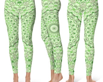 Green Leggings Yoga Pants, Printed Yoga Tights, Spring Green Mandala Pattern