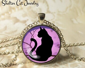 "Black Cat and Purple Moon Necklace - 1-1/4"" Circle Pendant or Key Ring - Wearable Art Photo - Curious Cat Gothic Halloween Cat Lover Gift"