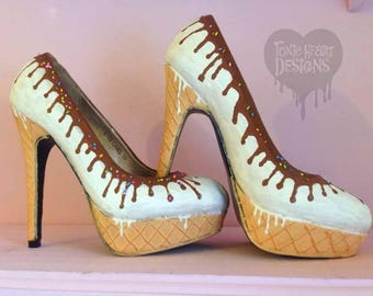 Ice-cream saucy sundae! Icecream cone with vanilla icecream dripping chocolate sauce and sprinkles! / high heels - hand painted shoes