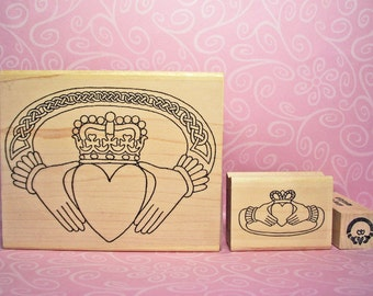 Irish Claddagh Rubber Stamp Set of 3 Sizes and Option to Add Gold Claddagh Seals Wedding Valentine's Day Anniversary