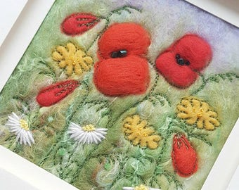 Poppy wildflower meadow felted wool art - original artwork created in Needle Felting, free machine embroidery and hand embroidery