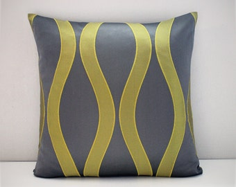 Grey and lime green lattice cushion cover