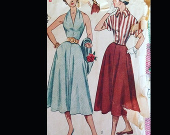 Vintage 50s Marilyn Button Back Halter Top Button Front Blouse Full Skirt Sewing Pattern 3238 B32