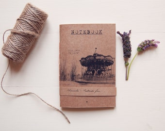 Photo notebook carousel, handmade eco friendly pocket vegan journal