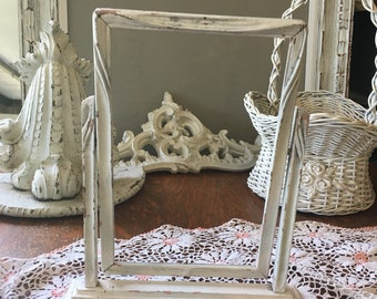 Antique Swing Frame ~ Chippy Shabby Old White Paint