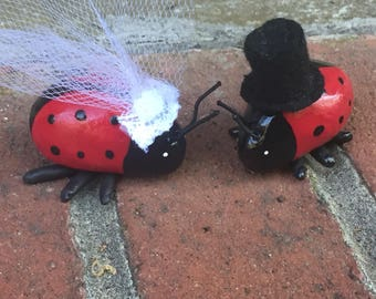 Bride and Groom with Top hat Lady Bug Wedding Couple Cake Topper Set of Two Mini Marble Friends
