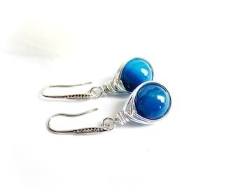 Orecchini avvolti pendenti pietre dure orecchini blu argento orecchini pendenti agata acciaio avvolto regalo per lei