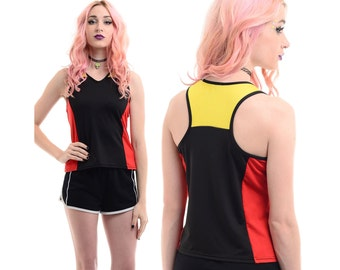 Vintage 90s Mondrian SPORTY Crop Top Hip-Hop Rave Club-Kid Cyber Stretch Tank Top Shirt *Free Shipping U.S.* vtg