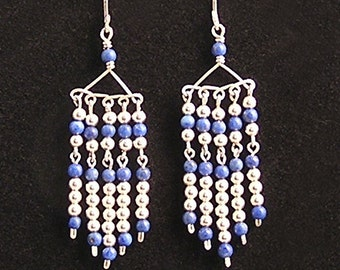 Blue lapis and sterling silver chandelier earrings