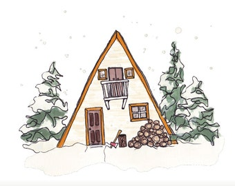 Winter A-Frame Cabin Art Print 10x8