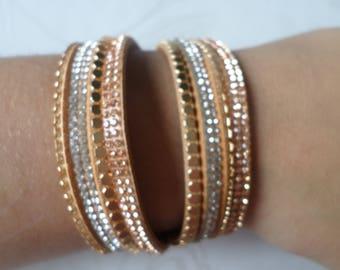 x 1 38 cm gold cuff pattern rhinestones/studs coffee MULTISTRAND leather bracelet