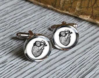 Vintage anatomical heart cufflinks birthday gift ideas for doctor anatomy cuff links doctor gift - C0402N