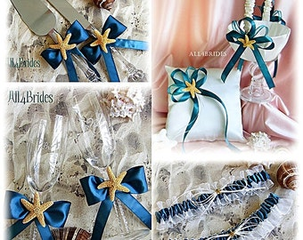 Starfish beach wedding ring pillow, basket, bridal garters, cake set and glasses, Teal or custom color satin ribbon
