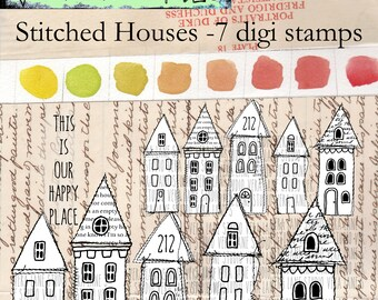 Stitched Houses - 7 digi stamps