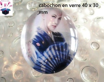 1 cabochon 40x30mm Japanese theme glass