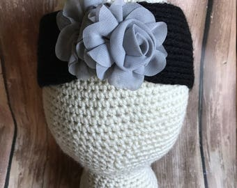 Girl Knit Headband, Toddler Ear Warmers, Toddler Knit Headband, Turban, Toddler Knit Ear Warmers -  Black Grey Flower READY TO SHIP