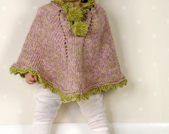 Baby/Toddler/Girls poncho/cape in soft wool/alpaca blend, sizes Size: 1/3 – 6/9 – 12/18 months (2 – 3/4years)