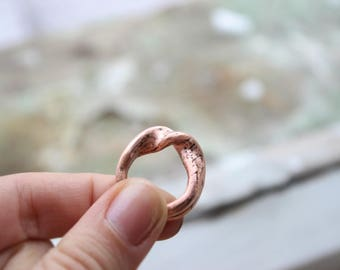 Copper ring Electroformed ring Wave ringCooper electroformed ring Rustic ring Electroformed jewelry Eco-friendly jewelry Gift for her