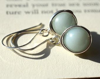 Amazonite Earrings, Sterling Silver Wire Wrapped Earrings, Pale Blue Stone Earrings, Light Blue Earrings, Gray Blue Wire Wrapped Stone Beads