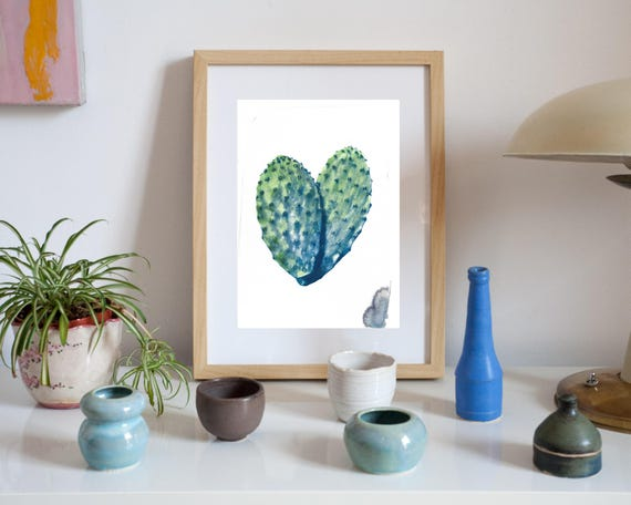 Unique Hand Painted Watercolor Cactus on Cyanotype