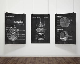 Star Wars Patent Prints Set Of 3,Movie Print, Millennium Falcon,Death Star,X-Wing, Chalkboard,Blueprint,Wall art,Space poster #P231