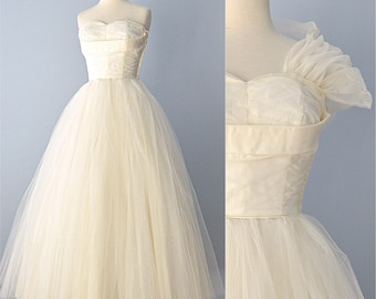 1950s Wedding Gown...Beautiful Ivory Tulle Princess Wedding Gown 25 1/2 Inch Waist