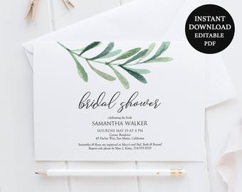 Greenery Bridal Shower Invite Download - Printable Invitation 5x7 inches - Olive Leaf - Instant Download - Editable PDF - Wedding - #GD3817