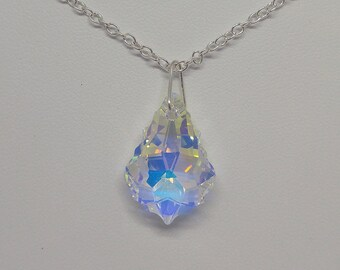 Sterling Silver Swarovski Crystal Clear AB Baroque Necklace