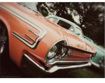 Coral Orange Classic Car Closeup Photo — Old Cars Wall Art — Vintage Automobile Photography — Peachy Dodge Polara Grille and Headlight Photo