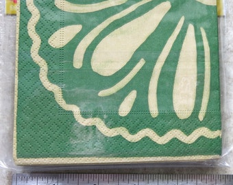 Green and Tan Beverage Napkins, 3 ply napkins, Luncheon Napkins, Crafts and Projects