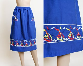 Vintage Sailboat Embroidered Skirt - 1970s Bright Royal Blue Midi Tea Length Skirt with Birds and Boats - Nautical Sailor - Small