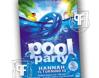 Pool Party Flyer - Pool Party Birthday - Pool Party Invitation - Pool Party Invitations - Pool Party Invites