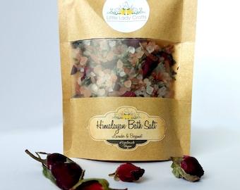 Lavender Bergamot Bath Salts, Bath Tea, Bath Salts with dried flowers, Relaxing Bath Salts, Bath Products, Bath and Body,
