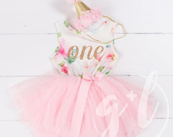 Pink Floral First Birthday Outfit, First Birthday Dress, 1st birthday outfit, 1st birthday dress, Gold Glitter, Floral, Pink