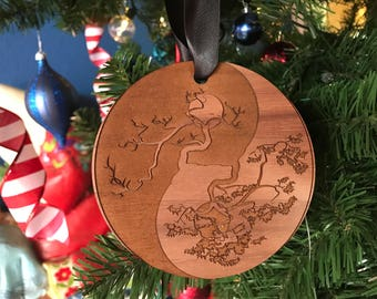 Double Sided- Personalized Ying Yang Tree- Wood Ornament