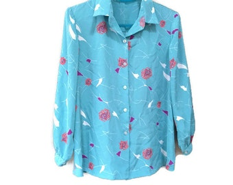 Blue Vintage Blouse, Red Roses Abstract Floral Blouse, 1970s Vintage Blue Blouse, Retro 70s Blouse, Sky Blue, Abstract Roses Blouse, Office