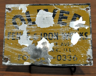 Vintage Oliver Fence and Iron Works Fence Sign - Forest Park, Illinois