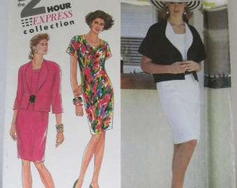 1991 Vintage dress and jacketPaper Pattern uncut used Size 8-14,USA  Simplicity 7280