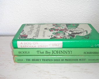 weekly readers from the children's book club set of 3 - jadeite mint spring green books from 1954 1955 1961 - shabby cottage chic