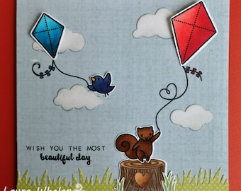 Red, White & Beautiful Day Handmade Card with Kites