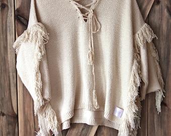 Fringe Boho Poncho, Cotton Poncho, Loose Boho Blouse, Cotton Sweater Blouse
