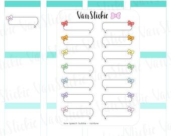 Bow Speech Bubble Planner Stickers (Set of 7)