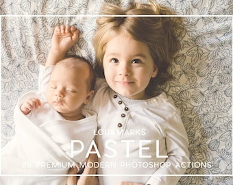 20 Pastel Photoshop Actions Professional Photo Editing for Portraits, Newborns, Weddings By LouMarksPhoto