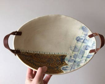 Ceramic Serving Bowl with Leather Handles