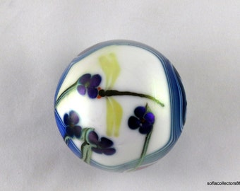 Orient & Flume Dragonfly on Purple Flowers with King Tut Décor Paperweight - Vintage 1970s Studio Art Glass